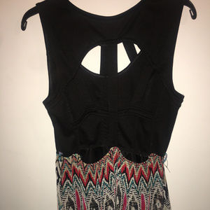 rue21 black and patterned high low dress L